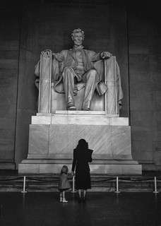 My mom and my sister at the Lincoln Memorial, c. 1949
