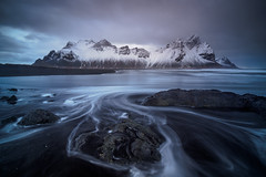 Stokksnes tide (lloydich) Tags: vestrahorn tide waves iceland ebb flow water