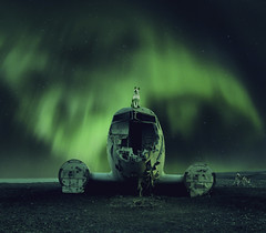 Aurora Borealis (tothfrantisek) Tags: auroraborealis northernlights planewreck iceland landscape nightscape manipulation dog akita lights plane surreal