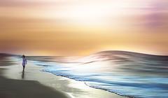 puede que me deje llevar (mesana62) Tags: huelva mirror mar backlight bokeh blue silhouette sunset spain cylon13 ocean orange oceano woman white verano andalucia atardecer atlantico teen travel t