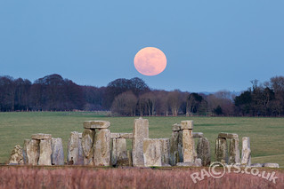 Super Blue Blood Moon is seen rising over Stonehenge