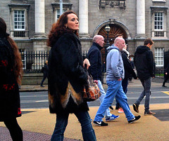 Crossing Point (Owen J Fitzpatrick) Tags: ojf people photography nikon fitzpatrick owen pretty pavement chasing d3100 ireland editorial use only ojfitzpatrick eire dublin republic city tamron candid joe candidphotography candidphoto unposed natural attractive beauty beautiful woman female lady j face hair along black photoshoot street 2017 centre dame asian tcd trinity college facade pedestrian coat elegant elegance