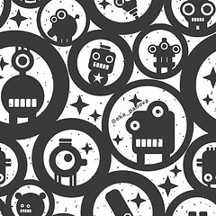 Endless wallpaper with cute monsters, robots and circles (eka panova) Tags: seamless pattern wallpaper wrappingpaper endless texture background backdrop design illustration vector ornament retro vintage decorative decoration decor circle circular graphic cover creative fabric geometric ornamental periodic print regular repeat round rounded simple textile monster robot space star cute funny children hipster face small black white monochrome animal fantastic fantasy microbe