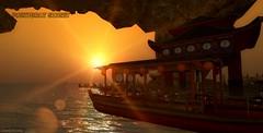 Partyboat sunset (Pixel Fashion and Knickknacks by Mizuki) Tags: boats sunsets mountains boat sunset pier onsen