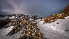 Reach for the sky..... (Einir Wyn Leigh) Tags: landscape mountains wales track snow ice walkers rocks sky winter outside hiking light path february snowdon