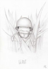 G.I. Ant (Klaas van den Burg) Tags: absurd humor gi ant soldierant grass blackandwhite pencil