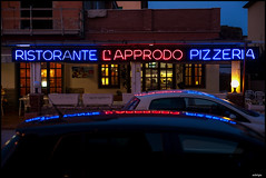 CAPPRODO (sick4pic) Tags: color pizza ristorante light roof car sign red blue neon neonsign wall yellow window pizzeria reflection mirror evening night lamp