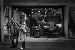 Go with your gut! (明遊快) Tags: man woman lady road street camera photographer kobe japan japanese dark bw blackandwhite 美女 クールガイ cinematic gr2