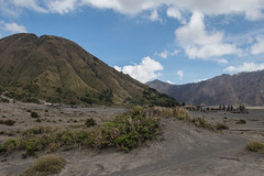 Mount Batok with a temple nested at its beneath (pleymalex) Tags: bromo crater caldeira volcan vulcano indonesia fog smoke view end asia temple