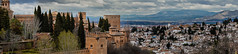 Granada (andbog) Tags: sony alpha ilce a6000 sonya6000 emount mirrorless csc sonya oss sel spagna spain españa es sonyα sonyalpha sony⍺6000 sonyilce6000 sonyalpha6000 ⍺6000 ilce6000 andalucia architettura architecture granada palacio palace espana overcast nuvoloso rainy alhambra building palazzo wall remparts battlements merli merlons merlatura clouds nuvole cloudy apsc stitch panorama widescreen panoramicshot view vista handheld andalusia edificio roof tetti cityscape city città houses case overlook rooftops albayzín albaicín elalbaicín alcazaba sweeppanorama generalife 55210mm sel55210 over100fav