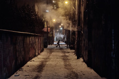 Steam and Snow (A Great Capture) Tags: steam graffiti alley snow walk walking person agreatcapture agc wwwagreatcapturecom adjm ash2276 ashleylduffus ald mobilejay jamesmitchell toronto on ontario canada canadian photographer northamerica torontoexplore winter l'hiver 2018 city downtown lights urban night dark nighttime cold weather cityscape urbanscape eos digital dslr lens canon rebel t5i outdoor outdoors streetphotography streetscape photography streetphoto street calle neige schnee