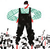 Progress (sergey, prktr) Tags: editorial illustration ecology environement man smoke factory urban house shirt overall hat american