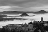 foggy view of san leo (lucafabbricesena) Tags: groundfog sanleo emiliaromagna italy medieval village church square towerbell history mountain nikon d800 winter panorama lowclouds landscape bw blackandwhite old architecture fog