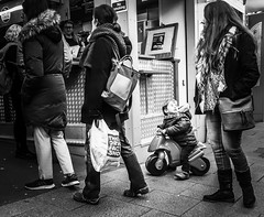 12/365 Life In The Fast Lane (denise.ferley) Tags: whatisee peopleinthestreets streetphotography blackandwhitephotography thisisnorwich thisisengland people peoplewatching marketstall marketlife queue 3652018 365 oneaday life norwichcity city citylife norwichmarket