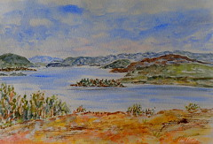 LAKE PEDDER AFTER FLOODING  (WATERCOLOUR) (Lani Elliott) Tags: nature watercolour painting art artwork lakepedder scene scenic sky clouds mountains water lake trees scenictasmania landscape excellent superb beautiful