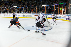 """Kansas City Mavericks vs. Indy Fuel, February 17, 2018, Silverstein Eye Centers Arena, Independence, Missouri.  Photo: © John Howe / Howe Creative Photography, all rights reserved 2018 • <a style=""""font-size:0.8em;"""" href=""""http://www.flickr.com/photos/134016632@N02/39676654524/"""" target=""""_blank"""">View on Flickr</a>"""