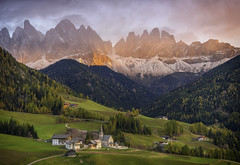 Dolomites Postcard (tms\) Tags: tirol mountains odle villnoss st peter church dolomites