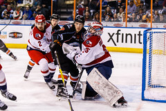 "Kansas City Mavericks vs. Allen Americans, February 24, 2018, Silverstein Eye Centers Arena, Independence, Missouri.  Photo: © John Howe / Howe Creative Photography, all rights reserved 2018 • <a style=""font-size:0.8em;"" href=""http://www.flickr.com/photos/134016632@N02/39790827334/"" target=""_blank"">View on Flickr</a>"