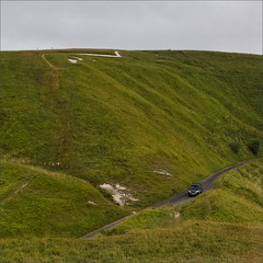 Uffington White Horse II (meniscuslens) Tags: uffington white horse chalk cut hill downs car road sky