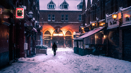 Walking in the snow - Dublin, Ireland - Color street photography
