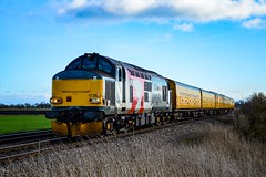 37611 + 9703 - North Fen - 28/01/18. (TRphotography04) Tags: europheonix liveried 37611 pegasus trundles past north fen working 3z01 1200 colchester reception line derby rtcnetwork rail network dbso 9703 was rear 280118