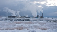 Factory In The Snow Field (somazeon) Tags: snow japan factory field sky panasonic lumix gx7 1235mm f28