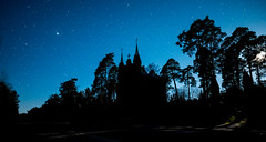 Dark Blue Night (free3yourmind) Tags: dark blue night church silhouette moon moonlight stars starry sky braslav braslaw belarus
