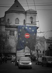 EuroMaydan (bobobahmat) Tags: euromaydan lviv life lvov ukraine euro stop sign city town street color car bnw bw black blackandwhite blackwhite blacknwhite autumn