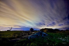 Barn roof in the grass (John Andersen (JPAndersen images)) Tags: abandoned alberta barn calgary clouds night sky yyc