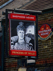 The Princess of Wales Pub in Margate (Steve Taylor (Photography)) Tags: princessofwales sign pub inn since1698 shepherdneame masterbrewers art black red white brown woman lady uk gb england greatbritain unitedkingdom margate palace princess flag pearls jewellrey