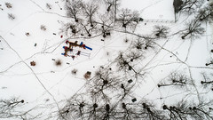 Centennial Park Oak Lawn - Tracks in the snow - 2-20-2018 (Rick Drew - 19 million views!) Tags: oaklawn il illinois centennial park facelift construction cook county trees forest grove playground grass field ballpark fence heavy equipment progress dji drone phantom4pro p4p snow cold winter tracks footsteps trail