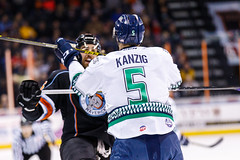 """Kansas City Mavericks vs. Florida Everblades, February 18, 2018, Silverstein Eye Centers Arena, Independence, Missouri.  Photo: © John Howe / Howe Creative Photography, all rights reserved 2018 • <a style=""""font-size:0.8em;"""" href=""""http://www.flickr.com/photos/134016632@N02/40387904441/"""" target=""""_blank"""">View on Flickr</a>"""