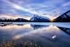 The Calm Between Storms (Kristin Repsher) Tags: alberta banff banffnationalpark canada canadianrockies d750 frozen mountains nationalpark nikon reflections rockies rockymountains snow sunrise vermillionlakes winter
