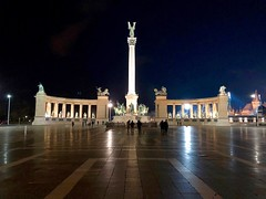 Heroes Square (ChiaraBer) Tags: budapest buda pest hungary hungarian capital city cityscape night photography iphone x nikon lights square heroes travel trip parliament building column architecture huge big majestic green grass shoes memorial danube river east eastern country europe european reflection weather christmas time holiday friends girls globetrotter wanderlust