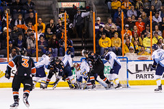 "Kansas City Mavericks vs. Toledo Walleye, January 20, 2018, Silverstein Eye Centers Arena, Independence, Missouri.  Photo: © John Howe / Howe Creative Photography, all rights reserved 2018. • <a style=""font-size:0.8em;"" href=""http://www.flickr.com/photos/134016632@N02/24969300337/"" target=""_blank"">View on Flickr</a>"