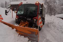 Ploughing away (ColmDub) Tags: grimentz snow alps valais switzerland snowfall mountains alpine plough dog man