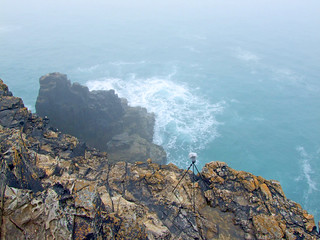 Recording sea and blowhole on tip of Shag Rock headland, in sea fog