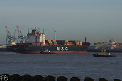 MSC Brianna (frisiabonn) Tags: vehicle ship water wirral liverpool england uk britain marine vessel river mersey merseyside sea shore waterfront maritime boat outdoor msc brianna cargo container tug tugboat svitzer smit barbados warden