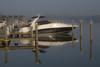 12-1457cr (George Hamlin) Tags: virginia neabsco creek marina dock boat posts water sky black white morning mist photo decor george hamlin photography