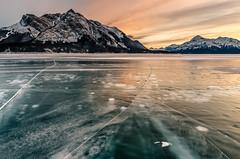 Abraham Lake Sunset (deirdre.lyttle) Tags: abrahamlake alberta canada canadianrockies clearwatercounty frozenbubbles glaciallake ice nordegg rockymountains winter sunset mountains snow