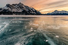 Abraham Lake Sunset (deirdre.lyttle) Tags: abrahamlake alberta canada canadianrockies clearwatercounty frozenbubbles glaciallake ice nordegg rockymountains winter sunset mountains snow