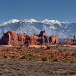 A Panoramic View to the Windows Section, Elephant Butte and the La Sal Mountains... (Arches National Park) thumbnail