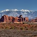 A Panoramic View to the Windows Section, Elephant Butte and the La Sal Mountains... (Arches National Park)