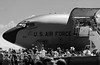_MG_2863: Boeing KC-135 Stratotanker, economy class (Peter ZZZ) Tags: 135 2017 airforce airshow avalon bw bay blackwhite boeing canonef100400mmf4556lisiiusm cargo crowds kc kc135 open outdoors pilot plane stairs tarmac tour usaf