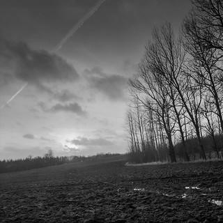 Sunset - winter fields