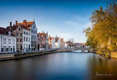 Postcard from Bruges I (Alec Lux) Tags: architecture autumn belgium branches bricks bridge bruges brugge building buildings canal city colorful colors daylight fall house landscape leave longexposure medieval nature old season street tree water vlaanderen be