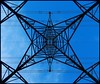 pylon ..always look up.. (Simon Dell Photography) Tags: pylon power lines structure blue sky looking up geometric symmetry