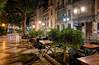Plaza de Gabriel Miró (henriksundholm.com) Tags: plaza street city urban night park furniture shadows chairs tables trees houses homes buildings postoffice reflections hdr canalla alicante spain espana plazadegabrielmiro