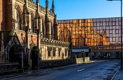 The Minster (Peter Leigh50) Tags: church reflection street town building architecture glass road lamp post fujifilm fuji xt10