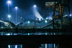 recycled steel particles (pbo31) Tags: bayarea california nikon d810 color february winter 2018 boury pbo31 alameda eastbay alamedacounty island night dark black oakland portofoakland reflection bay water blue recycle steel smoke trash cars fog mist port harbor crane pier industrial schnitzer